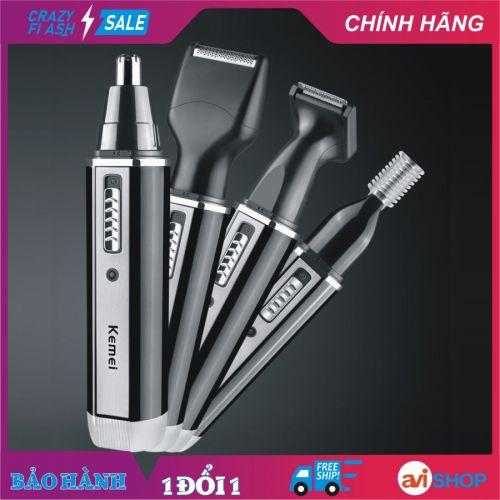 Máy tỉa lông mũi, râu, lông mày đa năng 4in1 dùng pin Kemei KM-6630 4 trong 1