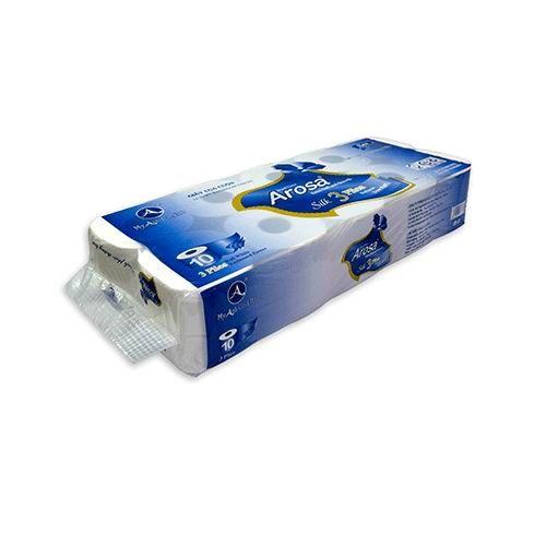 Giấy vệ sinh Arosa 10 cuộn , 3 lớp , màu xanh tím