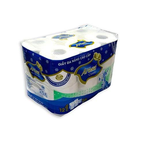 Giấy vệ sinh Arosa 12 cuộn , 2 lớp , có lõi màu xanh