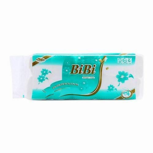 Giấy vệ sinh Bibi 10 cuộn không lõi màu xanh