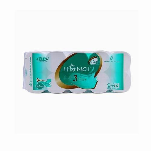 Giấy vệ sinh Hà Nội 10 cuộn , 3 lớp , có lõi màu xanh