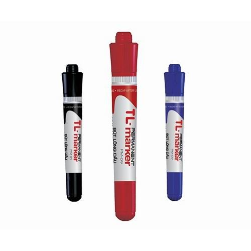 Bút dạ dầu Thiên Long PM09, nét to 2 đầu Đỏ